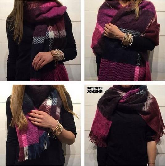 как завязывать большой платок на пальто видео